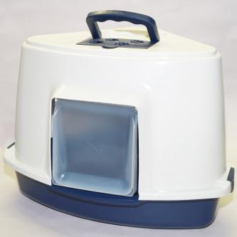 Portable Corner Hooded Cat Litter Box Tray House Handle + Scoop Blue