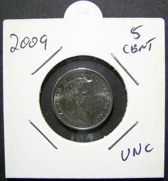 2009 5c cent. Uncirculated in a 2x2 Holder(LotE315p)Free Posta