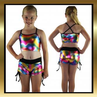 Metallic Multi Colour Kids Dancewear Tie Side Shorts and Top Set