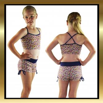 Kids Flower Tie Side Dance Shorts with Purple Band & Top