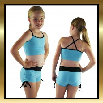 Blue & Black Kids Dancewear Lycra Tie Side Shorts and Top