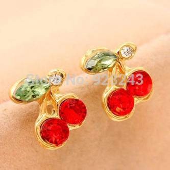 FASHION JEWELLERY CUTE GIRL LITTLE CHERRY STUD EARRINGS