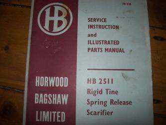 Service instruction for HB 2511 Rigid tine scarif