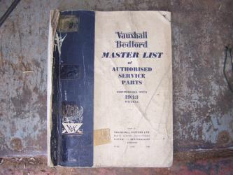 Vauxhall Bedford master list of service parts 1933