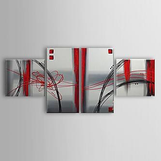 Hand Painted Abstract Oil Painting with Stretched Frame - Set of 4