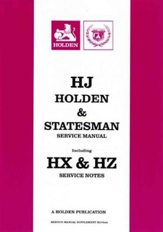 HJ HOLDEN and STATESMAN 1974 - 1980 FACTORY SERVICE MANUAL