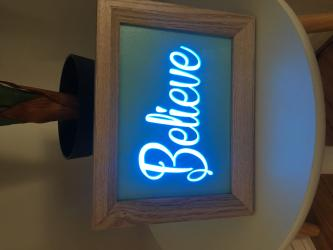 "A5 Size Night Light, Stand Alone Picture Frame ""BELIEVE"" Light Box"