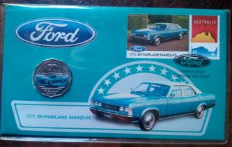 Ford classics Aust post stamp and coin cover PNC 1976 ZH  Fairlane mar