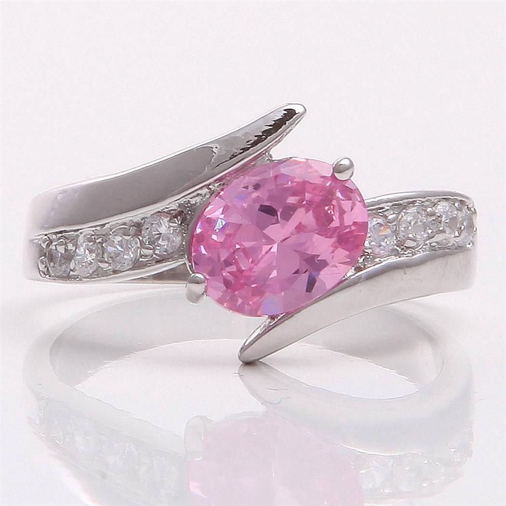 Swapmeet - Brand New 10k White Gold Pink Sapphire Wedding Ring- Size 7.5